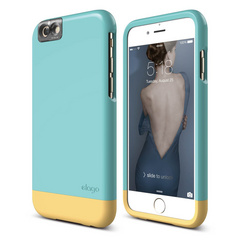 S6+ Glide Cam for iPhone 6s Plus - Coral Blue / Creamy Yellow