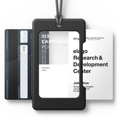 ID Card Holder - Black with dark grey strap
