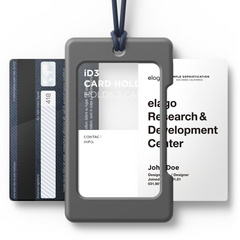 ID Card Holder - Dark gray with jean indigo strap