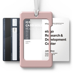 ID Card Holder - Pink with transparent strap