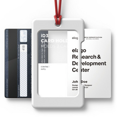 ID Card Holder - White with red strap