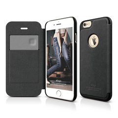 S6 Leather Apple Logo Cutout Flip Case for iPhone 6/6s - Black / Black