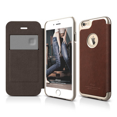 S6 Leather Apple Logo Cutout Flip Case for iPhone 6/6s - Brown / Champagne Gold