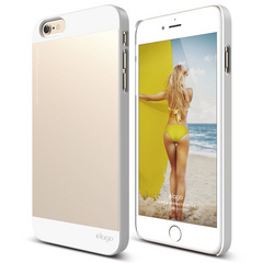 S6+ Outfit Case for iPhone 6/6s Plus - White / Champagne Gold