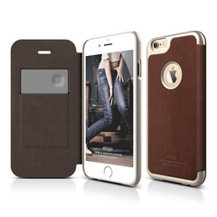 S6+ Leather Apple Logo Cutout Flip Case for iPhone 6/6s Plus - Brown / Champagne Gold