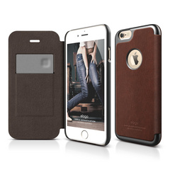 S6+ Leather Apple Logo Cutout Flip Case for iPhone 6/6s Plus - Brown / Metallic Dark Gray