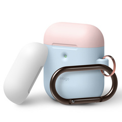Airpods Silicone Duo Hang Case - Pastel Blue with White/Pink top