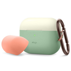 Airpods Pro Duo Hang Case - Pastel Green/Creamy White/Peach