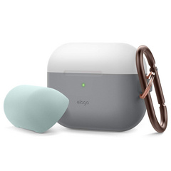 Airpods Pro Duo Hang Case - Transparent Gray/Mint-Light Gray