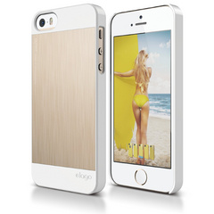 S5 Outfit Matrix Case for iPhone 5/5s/SE - White / Champagne Gold