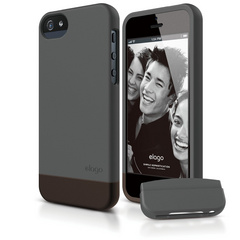 S5 Glide Case with Extra Bottom Clip for iPhone 5/5s/SE - Soft Dark Gray