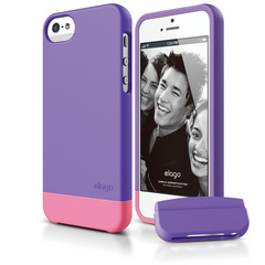 S5 Glide Case with Extra Bottom Clip for iPhone 5/5s/SE - Soft Purple