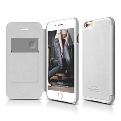 S6+ Leather Flip Case for iPhone 6 Plus ONLY - White / White